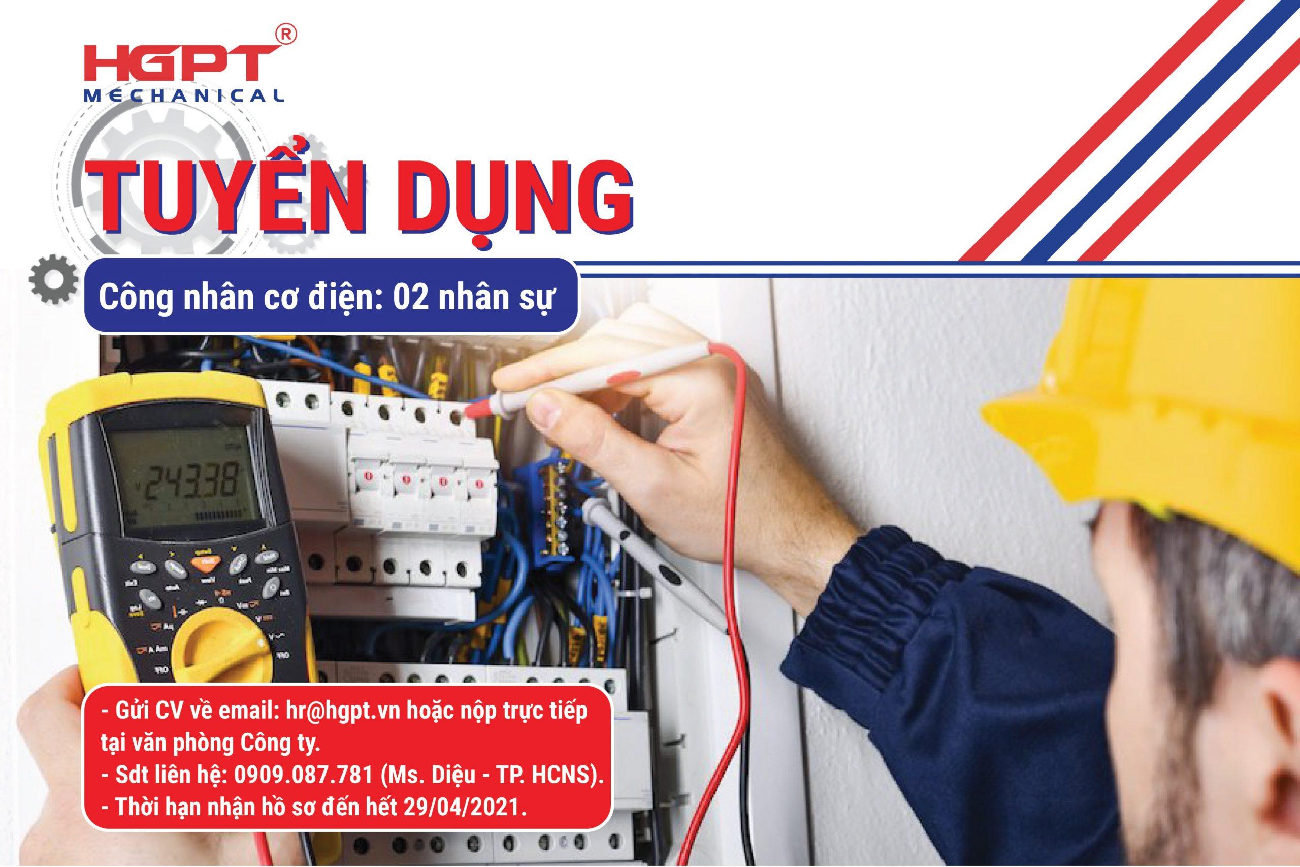HGPT Mechanical cần tuyển Công nhân cơ điện