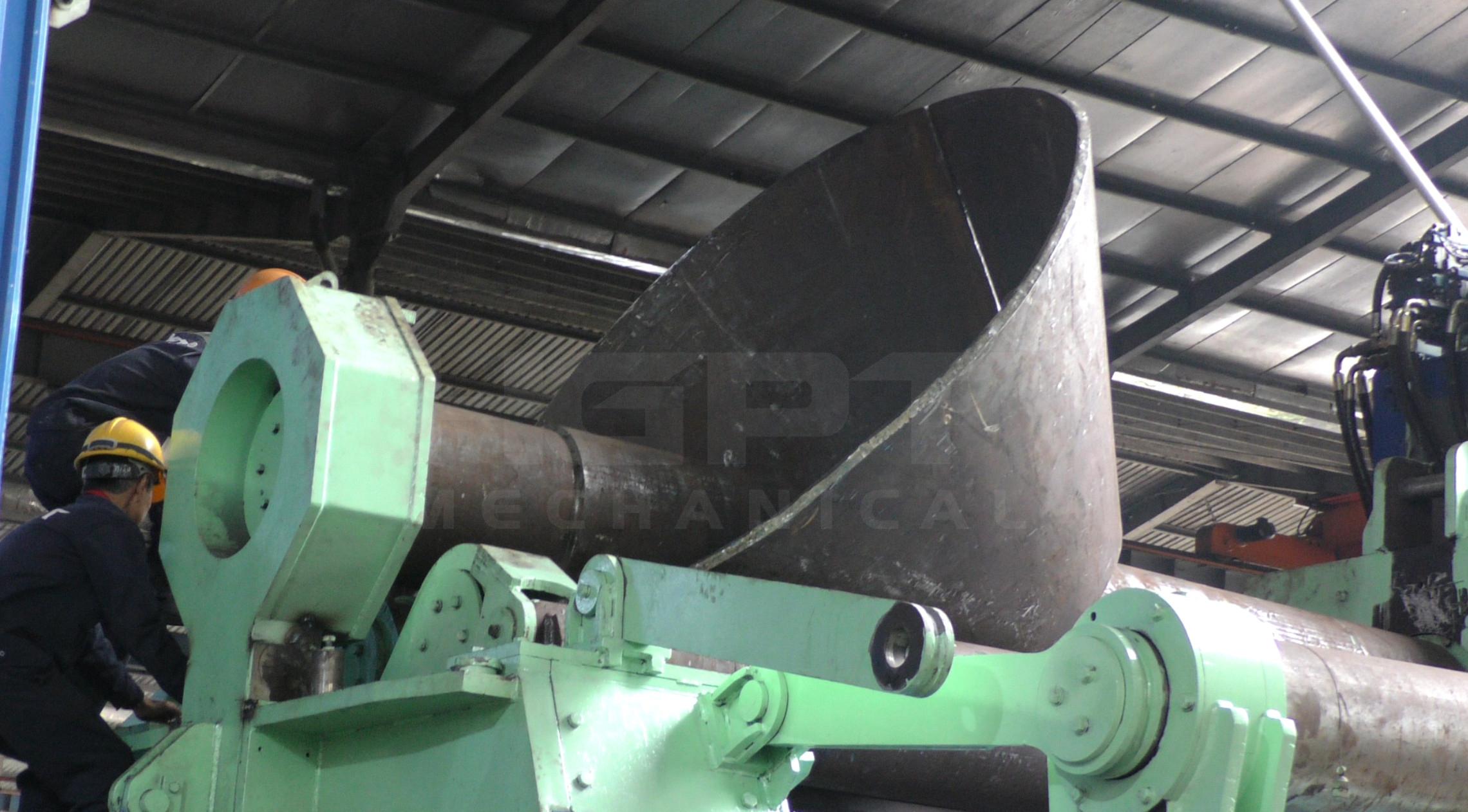 Quy trình Uốn thép tấm dày thành ống côn với độ dày tối đa 80mm